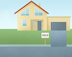graphic of home with sold sign