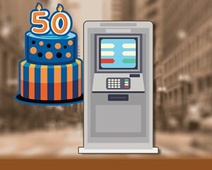 Animation of an ATM in a city setting with a 50th birthday cake