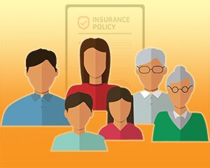 family with life insurance policy