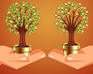 hands holding trees with gold fruit