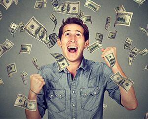 happy man raining money