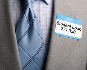nametag that shows student loan debt of $71,350
