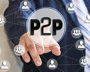 "circle with ""P2P"" inside and various network circle images surrounding it"