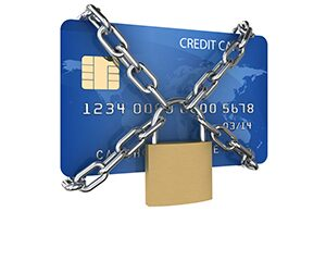 Credit card with padlock and chain