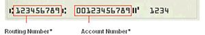 Routing number at bottom left of check and account number to the right of Routing Number.